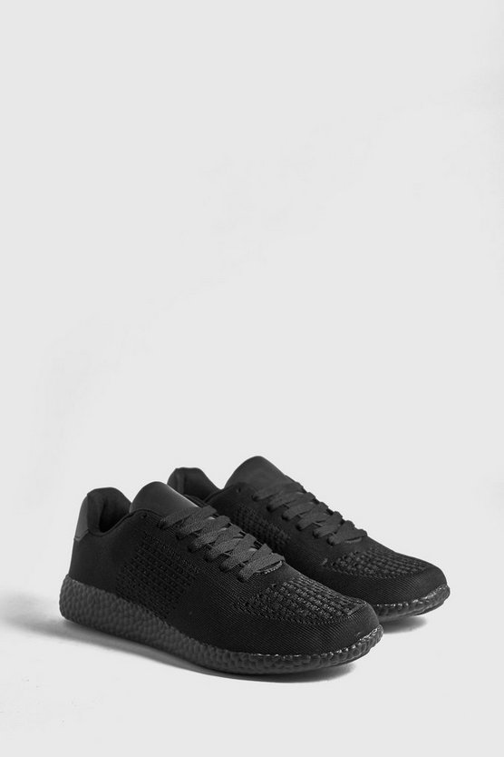 Mens Black Knitted Sneaker With Sport Sole