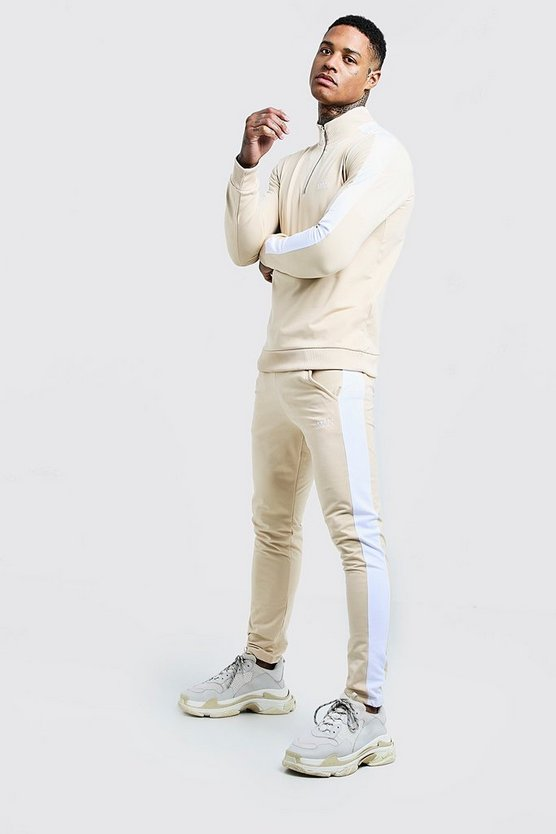 Stone Funnel Neck Contrast Panel Tricot MAN Tracksuit
