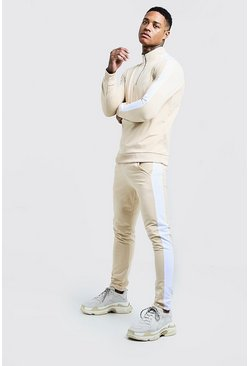 Mens Stone Funnel Neck Contrast Panel Tricot MAN Tracksuit