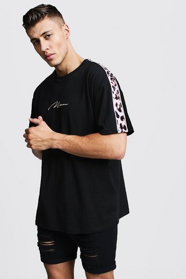 Mens Black Oversized Leopard Panel Print MAN T-Shirt