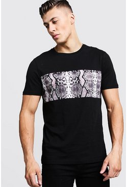 Mens Black Snake Chest Panel T-Shirt