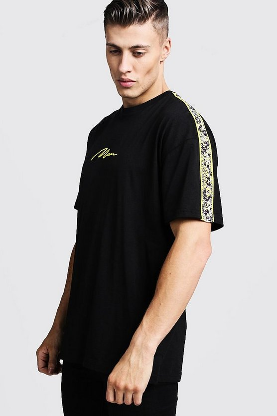 Mens Black Oversized Snake Panel Print MAN T-Shirt