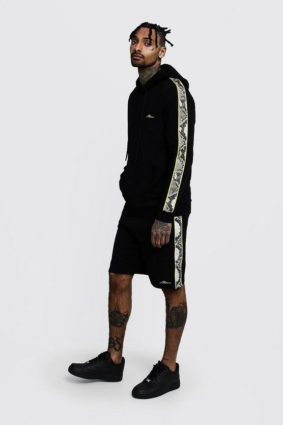 Mens Black Neon Snake Panel MAN Short Tracksuit