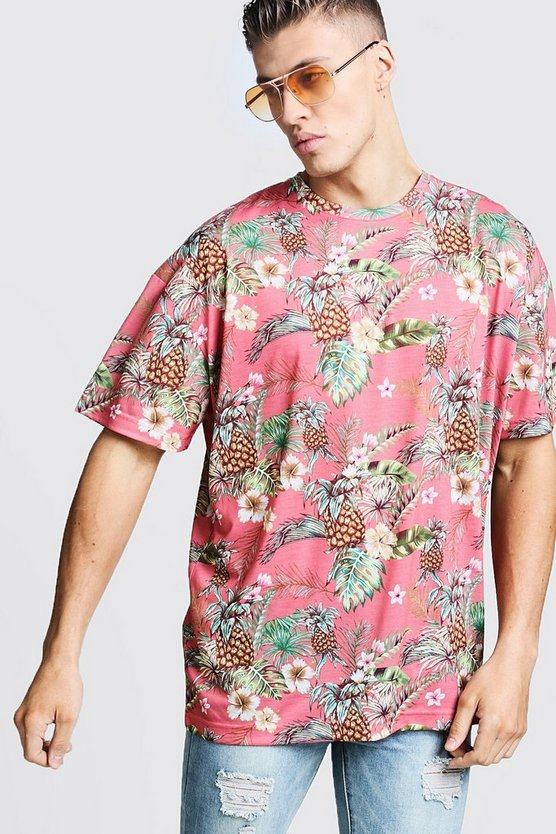 Pink Oversized Tropical Print T-Shirt