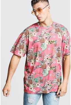 Oversized Tropical Print T-Shirt, Pink, Uomo