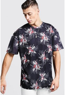 Oversized Hawaiian Print T-Shirt, Black, Uomo