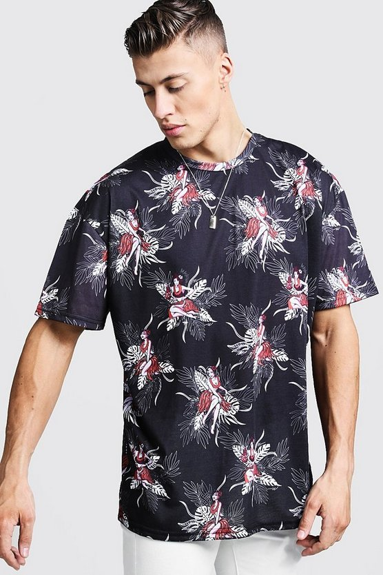 Mens Black Oversized Hawaiian Print T-Shirt