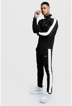 Mens Black Funnel Neck Contrast Panel Tricot MAN Tracksuit
