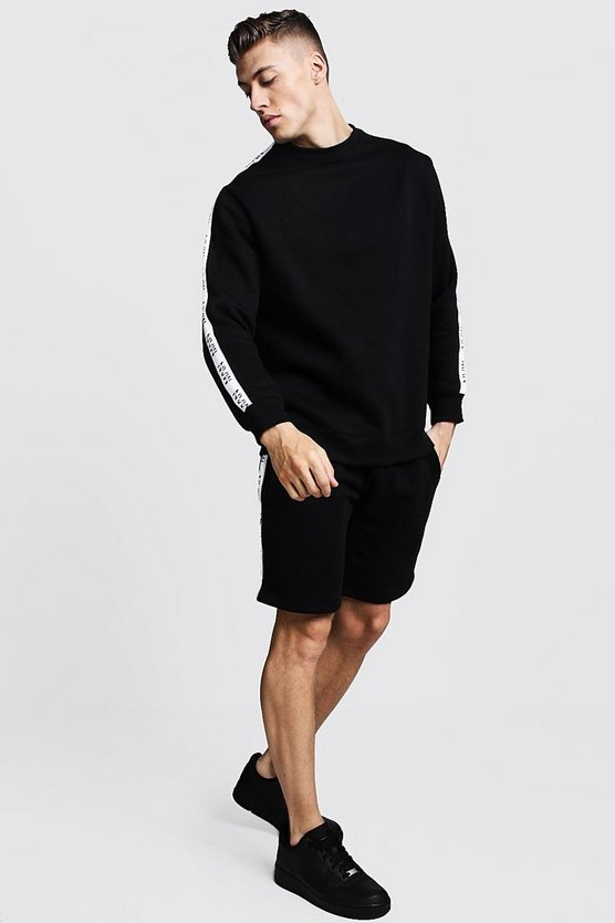 Mens Black Original MAN Tape Sweater Short Tracksuit