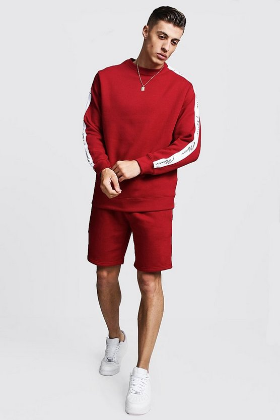 Mens Red MAN Signature Tape Sweater Short Tracksuit
