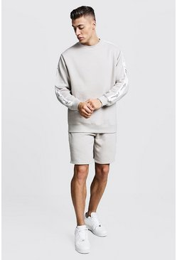Mens Stone MAN Signature Tape Sweater Short Tracksuit