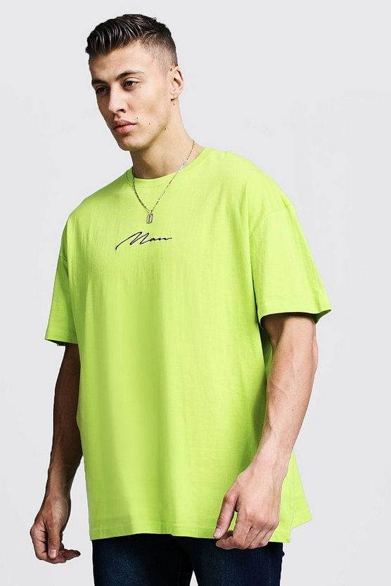 Lime Oversized MAN Signature Embroidered T-Shirt