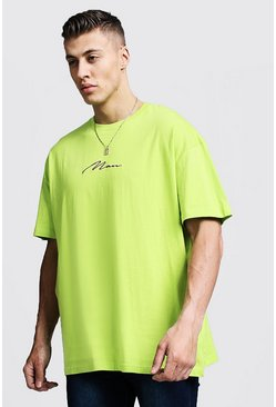 Oversized MAN Signature Embroidered T-Shirt, Lime, Uomo