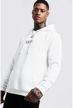 Mens White Original MAN Printed Hoodie