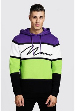 Mens Neon Colour Block MAN Signature Tape Hoodie