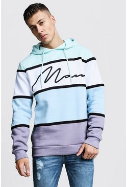 Mens Aqua Colour Block MAN Signature Tape Hoodie
