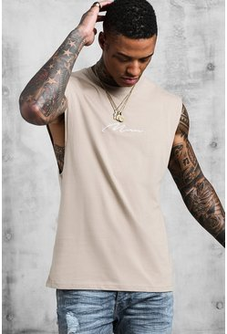 Mens Taupe MAN Signature Drop Armhole Tank