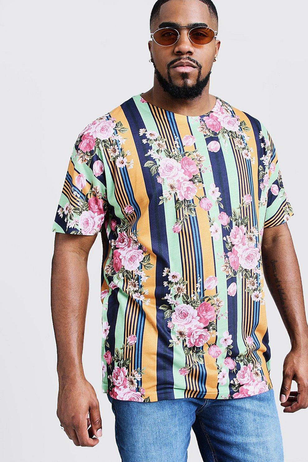 af6360720e Big & Tall Vertical Stripe / Floral Print Jersey Tee   Boohoo