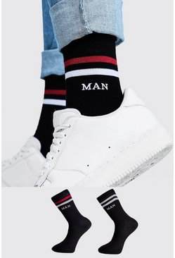 Mens Black 2 Pack MAN Sport Stripe Socks