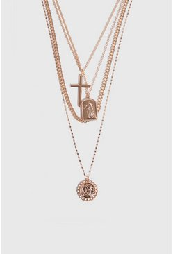 Mens Gold 4 Layer Chain and Pendant Necklace