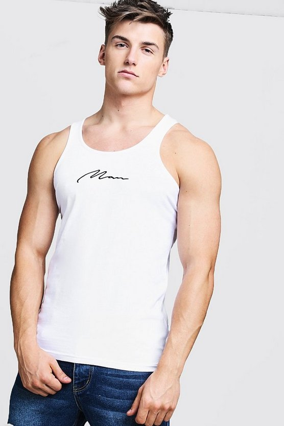 Mens White MAN Signature Embroidered Muscle Fit Vest