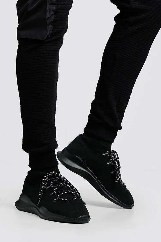 Black Knitted Sock MAN Trainer
