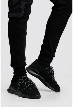 Mens Black Knitted Sock MAN Trainer