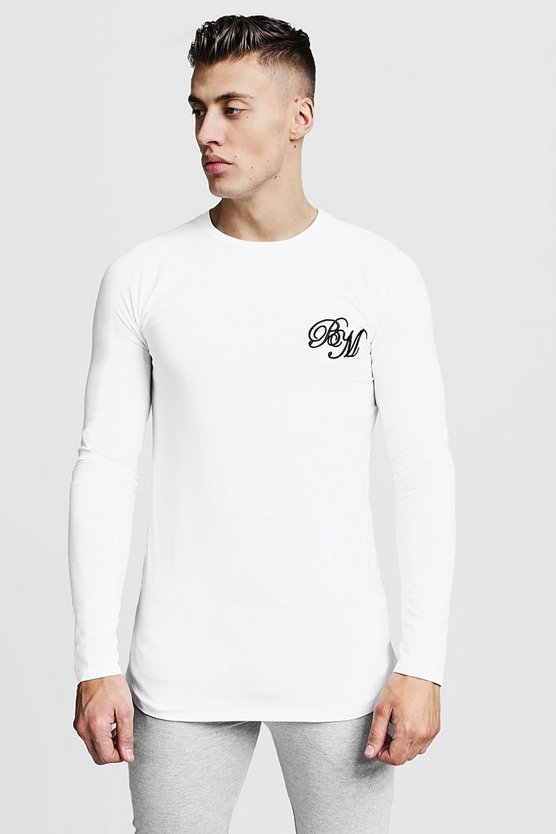 Longline Fitted Curved Hem Long Sleeve Tee, White, Uomo
