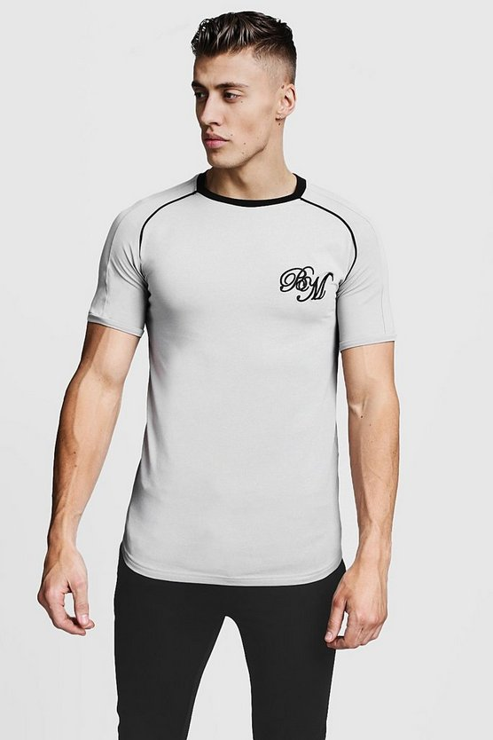 Mens Silver Muscle Fit Raglan BM Curved Hem Tee With Piping