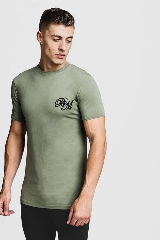 Mens Olive Longline Muscle Fit BM Curved Hem Tee