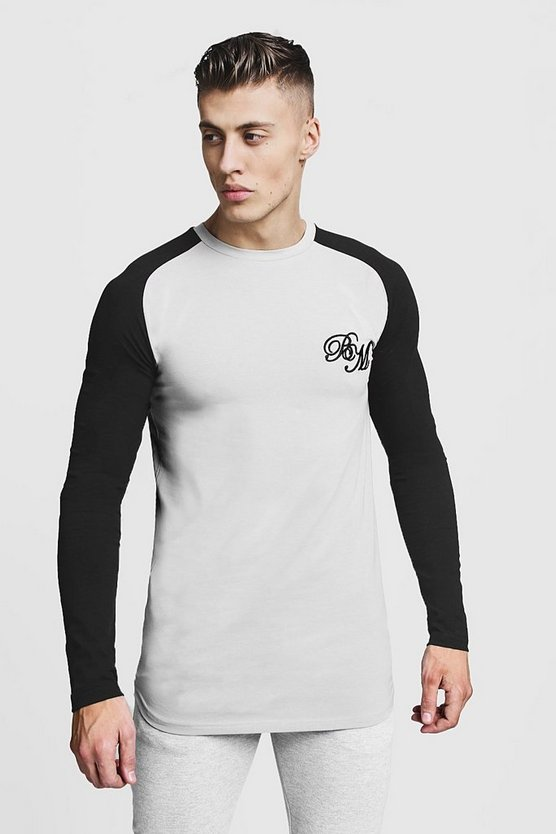 Mens Silver Longline Muscle Fit Contrast Long Sleeve Tee