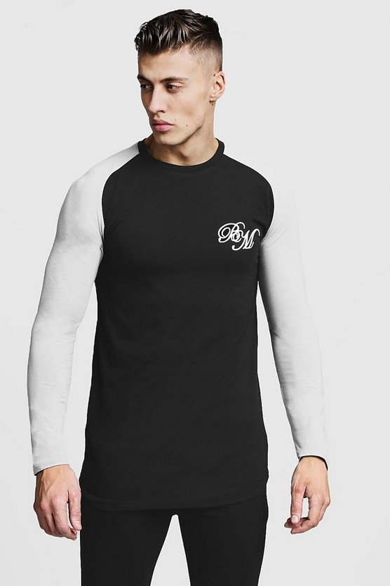 Black Longline Muscle Fit Contrast Long Sleeve Tee