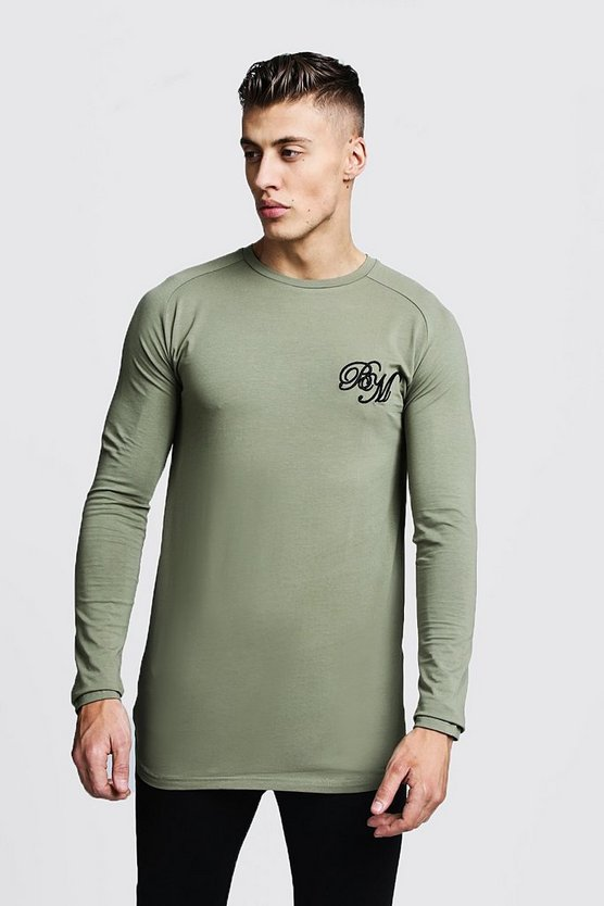Mens Olive Longline Fitted Curved Hem Long Sleeve Tee