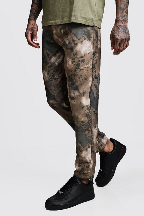 Mens Brown Brown Printed Camo Skinny Fit Trouser