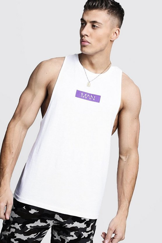 Mens White Purple MAN Box Racer Back Tank