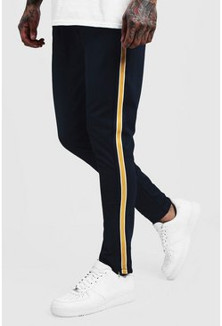 Mens Navy Skinny Fit Tricot Side Panel Joggers