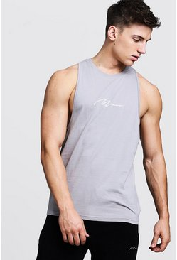 Mens Ash MAN Signature Racer Back Tank