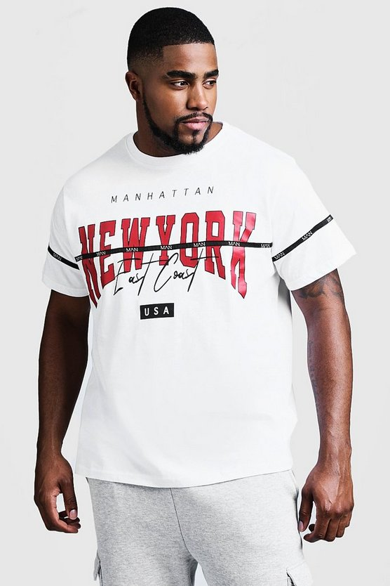 Big & Tall NY Print T-Shirt With MAN Tape, White, Uomo