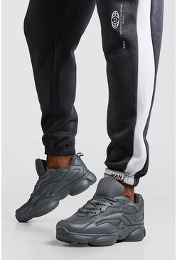 Mens Charcoal Mesh Detail Bubble Trainer