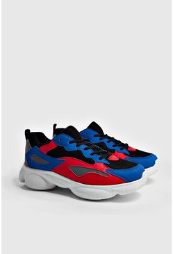 Mens Cobalt Bubble Trainers With Contrast Panels