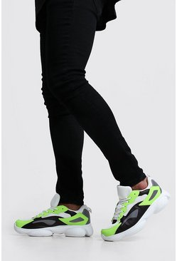 Mens Black Bubble Sneakers With Contrast Panels