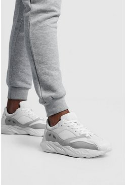 Mens White Mix Material Chunky Trainer