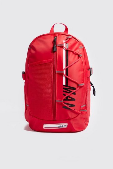 Mens Red MAN Multi Pocket Backpack
