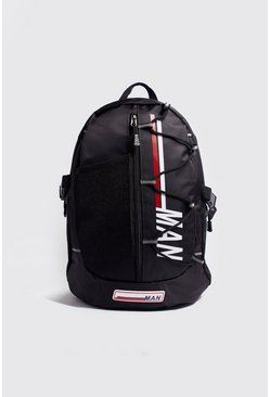 Mens Black MAN Multi Pocket Backpack