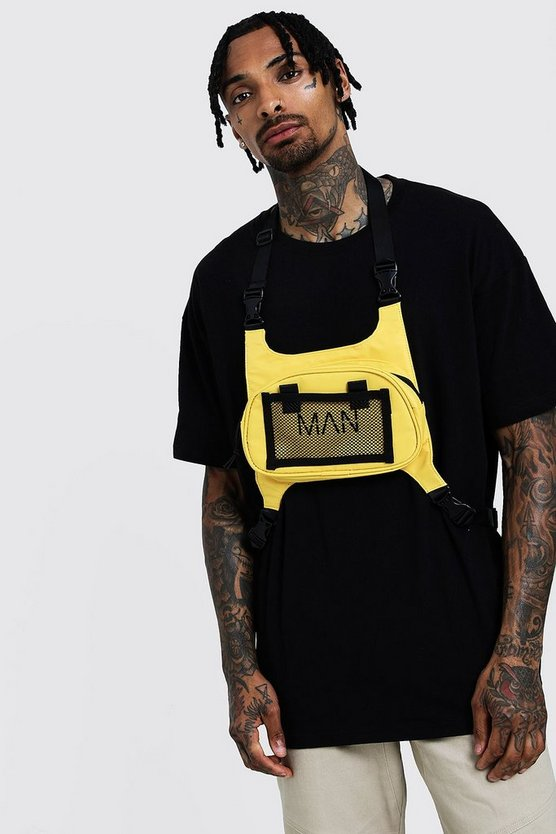 Mens Yellow MAN Chest Rig Bag