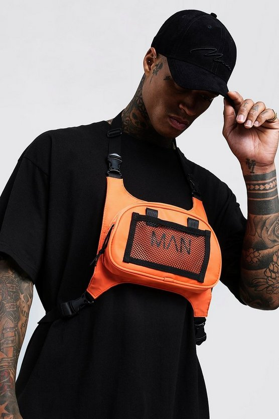 Mens Orange MAN Chest Rig Bag
