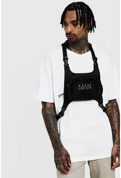 Mens Black MAN Chest Rig Bag