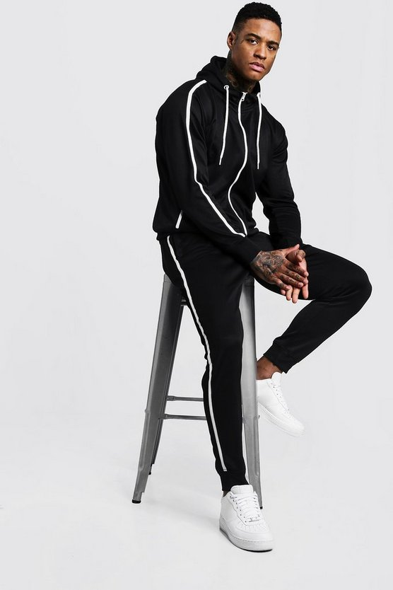Mens Black Tricot Zip Through Tracksuit With Tape Detail