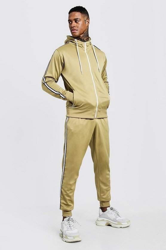 Mens Stone Tricot Zip Through Tracksuit With Tape Detail