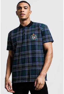 Mens Green Herald MAN Jacquard Check Loose Fit Polo